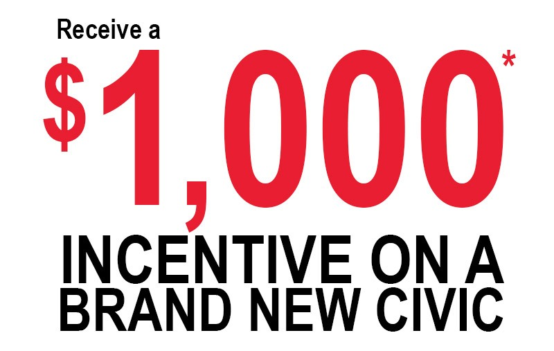 Receive a $1000 incentive on a brand new Honda Civic at Pickering Honda this may!